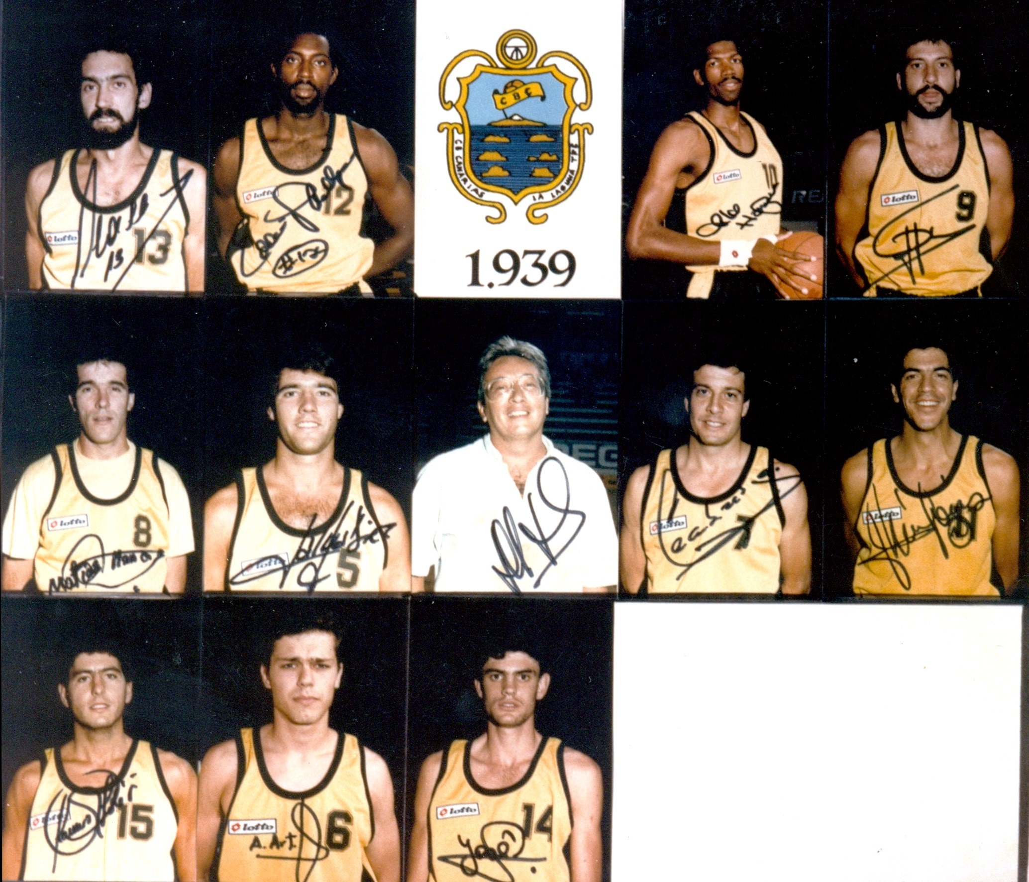 De las Casas, Phillips, Harper, Germán, Marrero, Díez, Hernández Rizo, Cabrera, Méndes, Solé, Arteaga y Artiles, plantilla 1986-87