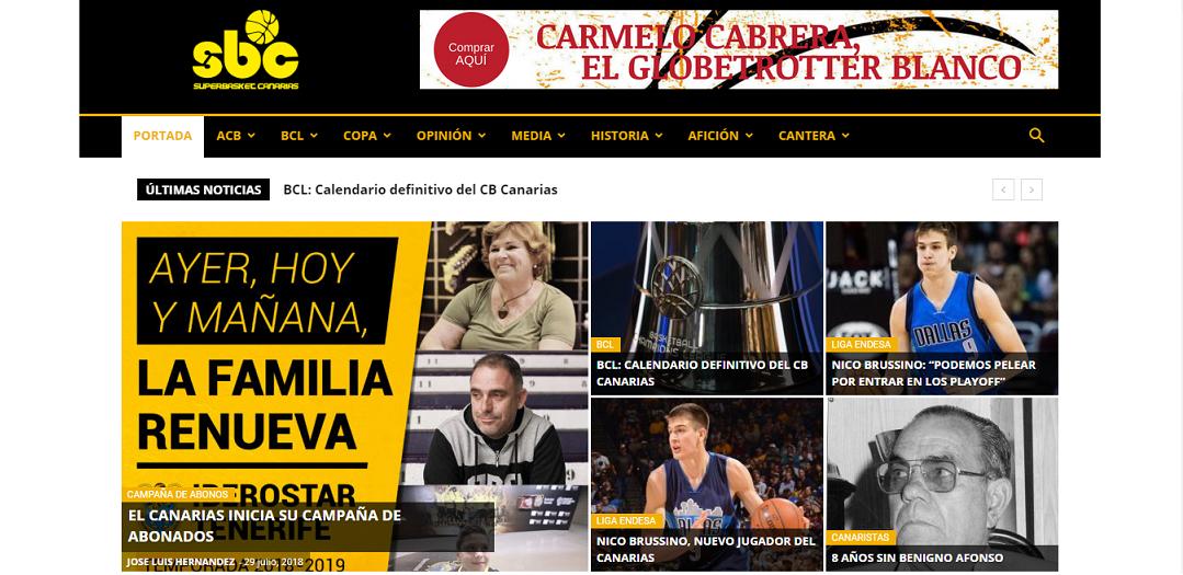 Una imagen de la portada de la web de SUPERBASKET CANARIAS